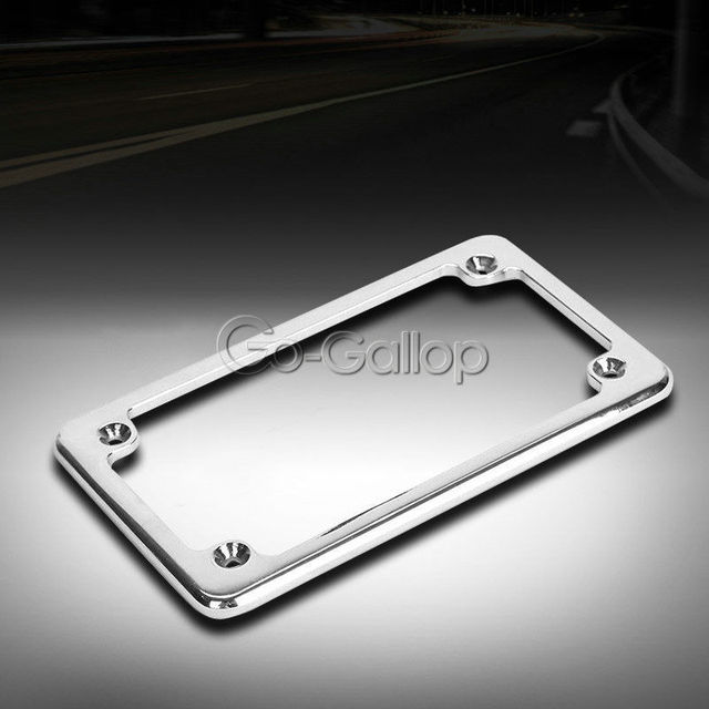 Deluxe Metal Chrome Motorcycle License Tag Plate Frame Custom Lic ...