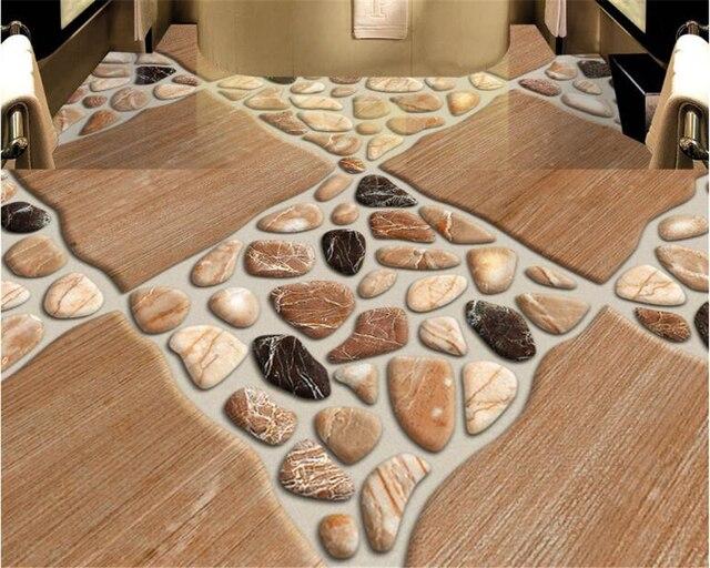 beibehang pintura wallpaper para paredes 3 d suelo de piedra natural azulejos de guijarros tridimensional moda - Paredes De Piedra Natural