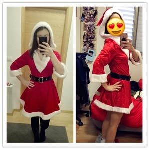 Image 4 - הגעה חדשה חג המולד שמלת נשים חג מולד תלבושות למבוגרים 2017 אדום קטיפה פרווה שמלות סלעית סקסי נקבה סנטה קלאוס תלבושות
