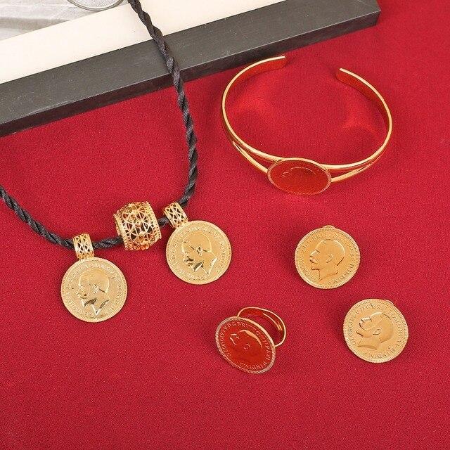 negozio online 9a295 6ca9c US $11.05 15% di SCONTO|Gioielli d'oro Rotonda Coin Etiope Moneta Pendente  Della Collana Orecchini Anello Del Braccialetto Da Sposa Habesha Eritrea ...