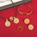 Moneda Redonda de oro Joyería Etíope Coin Collar Colgante Pendientes Anillo Bangle Habesha Eritrea África Árabe de La Boda Regalo