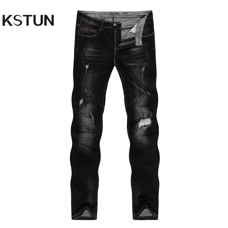 KSTUN Black Jeans Men Distressed Patchwrok Frayed Ripped Jeans for Man Autumn Winter Biker Jeans Streetwear Hiphop Denim Pants