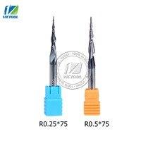 2pcs Lot R0 25 R0 5 D6 30 5 75L Tungsten Carbide Ball Nose Cone Type