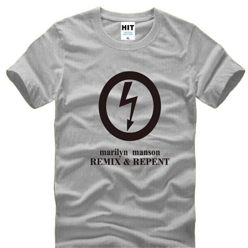 Мэнсон Мэрилин ремикс и покаяться рок Для мужчин футболка для Для мужчин новый Изделие из хлопка с короткими рукавами Повседневное Мужской ...