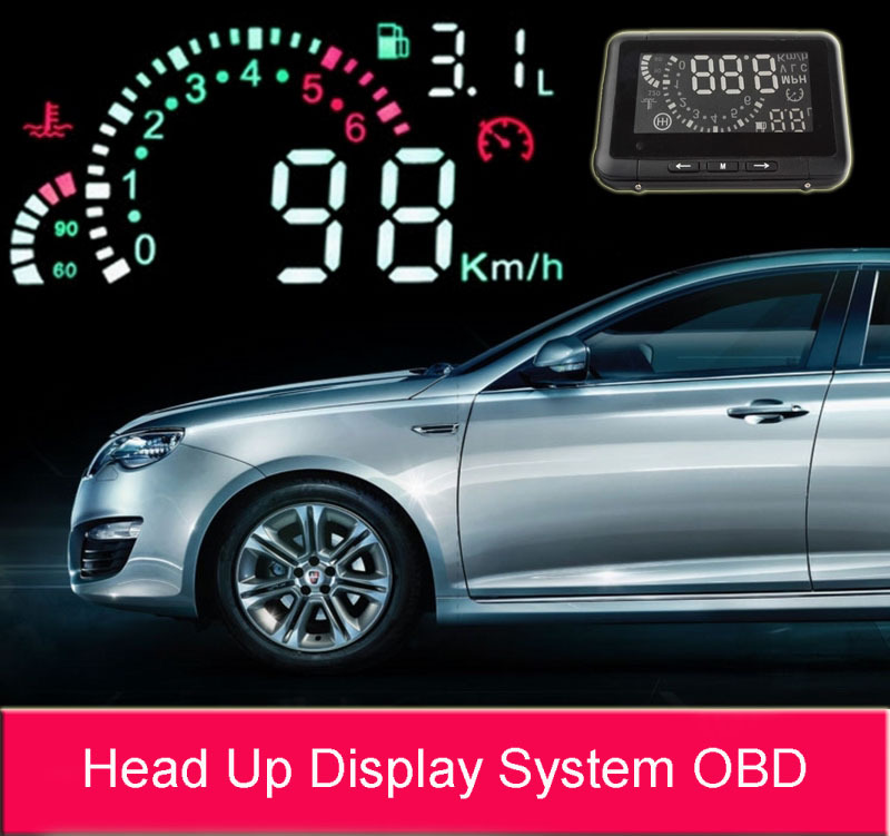 ФОТО 2017 New Universal ActiSafety Multi Car HUD Vehicle-mounted Head Up Display System OBD2 Fuel Consumption Overspeed Warning