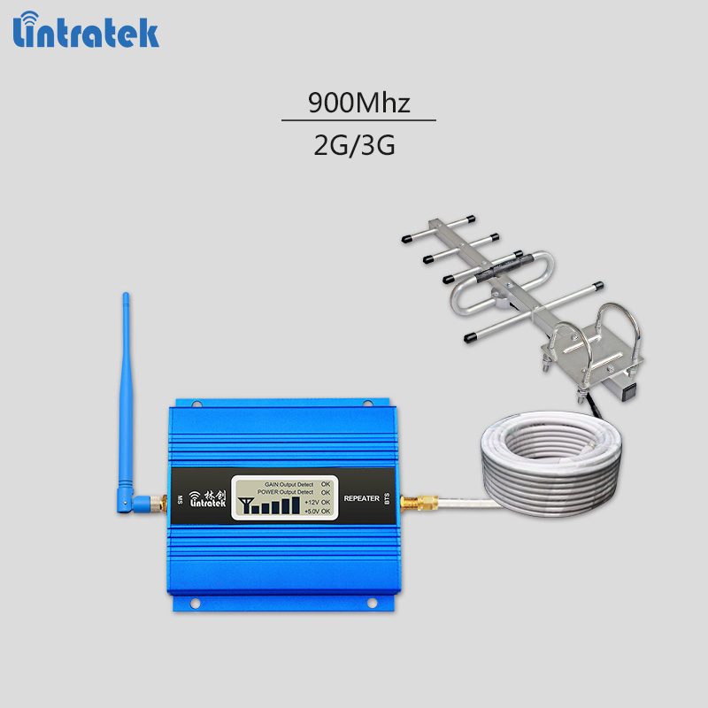 Lintratek GSM repeater 900Mhz signal booster mini cellular signal amplifier with yagi antenna whip antenna 10 meters #6