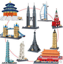 Wange 8011-8020 Great architectures 10 models London Bridge Big Ben Tiananmen Building Block Sets Educational DIY Bricks Toys