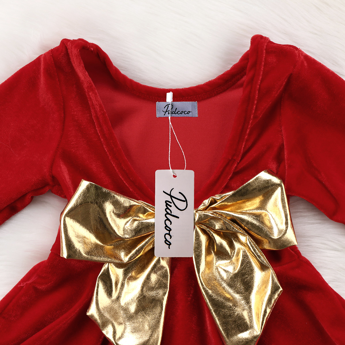 32b0db05ae1a Large Gold Bow Tie Dress For Girl Baby Long Sleeve Backless Princess Dress  With Bow Knot Party Pageant Dress Birthday Gift-in Dresses from Mother &  Kids on ...