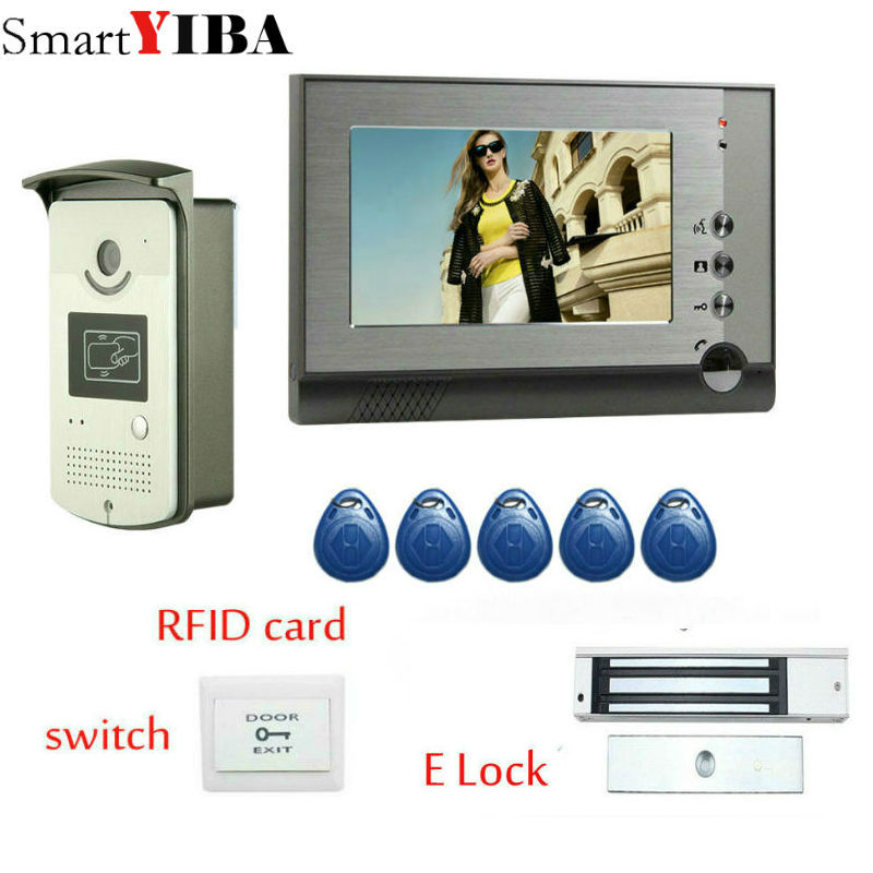 SmartYIBA 7 Inch Home Video Door Phone With With Rfid Electronic Door Lock Wired Video Phone House Video Intercom Doorbell Kits