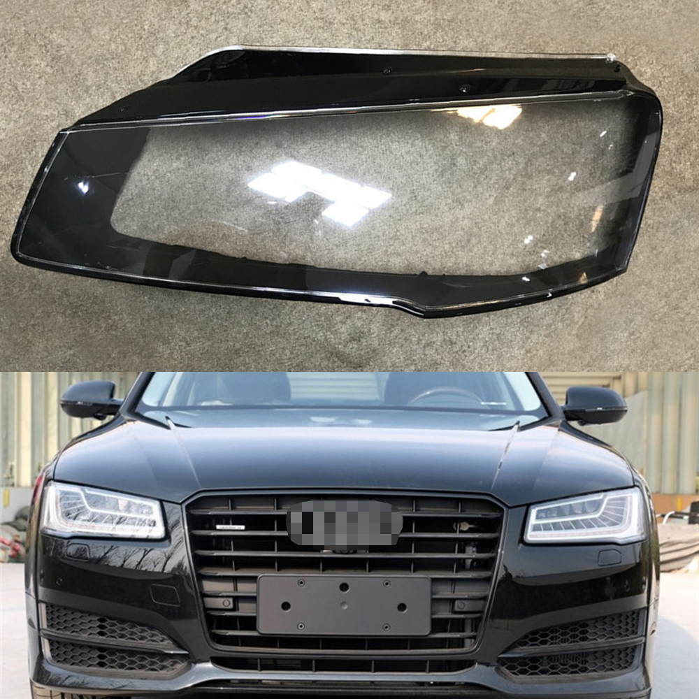 For Audi A8 D4 2014 2015 2016 2017 Transparent Car Headlight Headlamp Clear Lens Front Auto Shell Cover