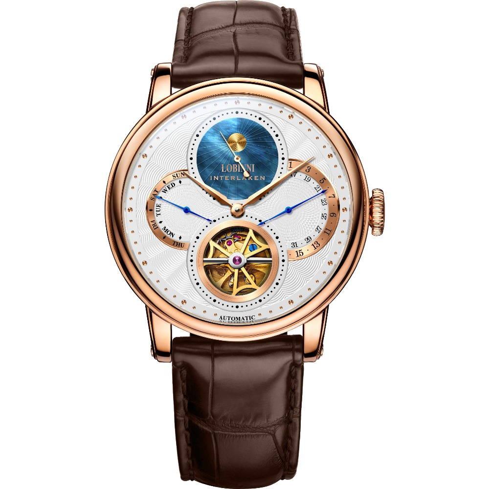 LOBINNI Men 50M Waterproof Leather Strap Day Moon Hollow Out Dial Business Automatic Mechanical Dress Wrist