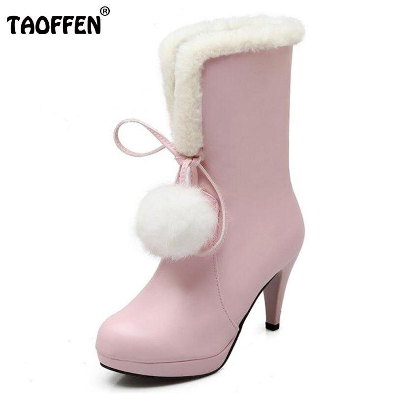 TAOFFEN Size 31-43 Ladies High Heels Mid Calf Snow Boots Women Sweety Pompon Side Zip Shoes Women Thick Fur Winter Warm Botas стоимость