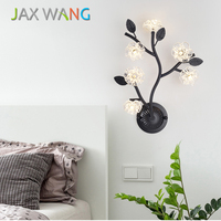 Nordic Postmodern Bedside Bedroom Wall Light Living Room Modern Simple Stair Aisle Light Creative Branch Glass Flower Wall Lamp