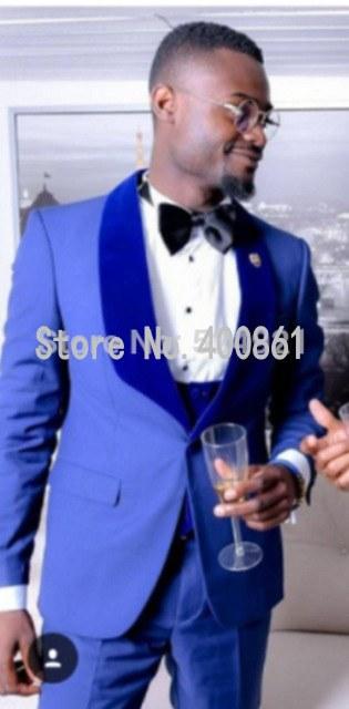 New Design One Button blue Groom Tuxedos Shawl Lapel Groomsmen Best Man Mens Wedding Suit (Jacket+Pants+Vest+Tie) W:266