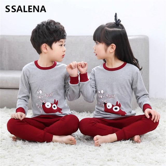 Kids Pajamas Sets Boys Cartoon Print Night Suit Children Full Sleeve Sleepwear Girls Soft Pyjamas Kids Cotton Nightwear D0092