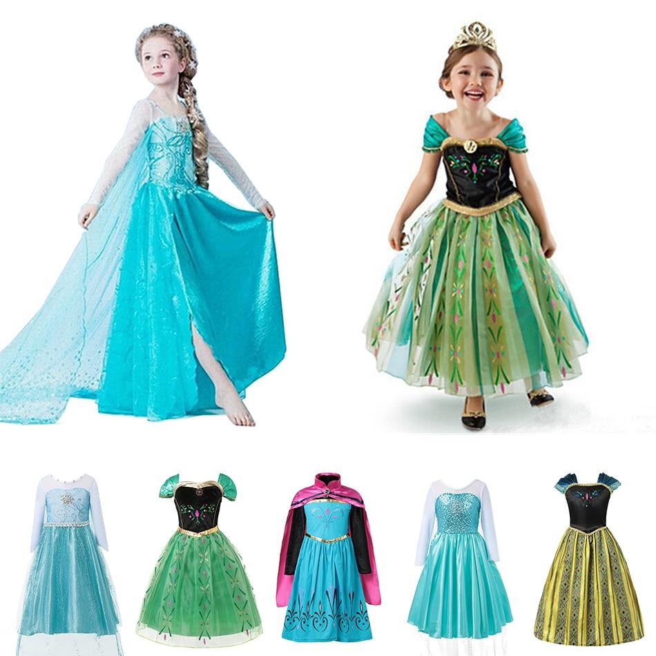 Meninas vestido cosplay neve rainha princesa anna elsa vestido para a menina traje do bebê crianças roupas crianças festa de halloween elza vestido