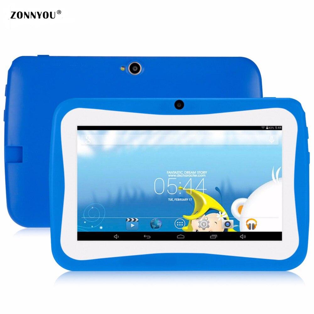 7 дюймовый детский планшет ПК с силиконовой кронштейн случае Android4.4 OS 4 ядра 8 GB HD Экран дети EDU игры PC88