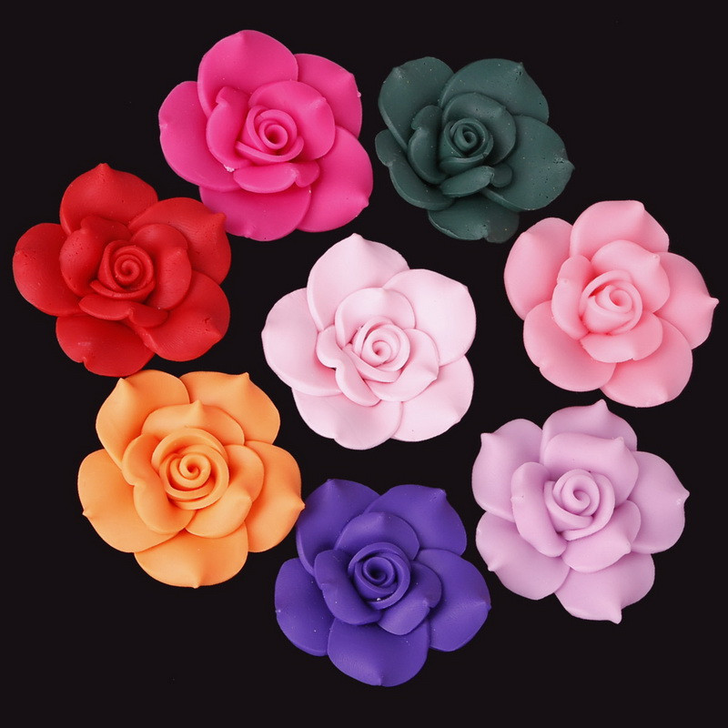 2pcs/lots Soft Polymer Fimo Clay Rose Flower Loose Spacer Beads For DIY Necklace Bracelet Jewelry Making Craft Decoration