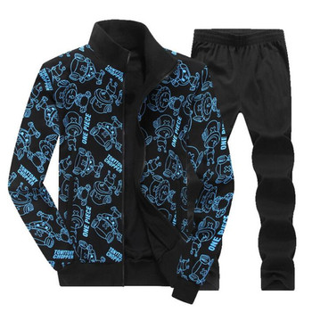 Mens Sets Sports Wear Male Clothes Fashion Autumn Spring Sporting Suit Casual Printed Sweatshirts+Trousers Big Size 6XL 7XL 8XL