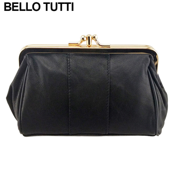 BELLO TUTTI Women Coin Purse Genuine Leather Card Holder Wallet Metal Frame Change Purse For Girls Original Small Coin Bag