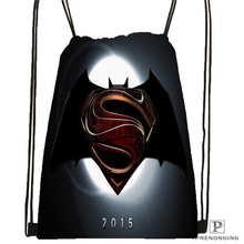 Custom superman-logo Drawstring Backpack Bag Cute Daypack Kids Satchel (Black Back) 31x40cm#180612-02-25