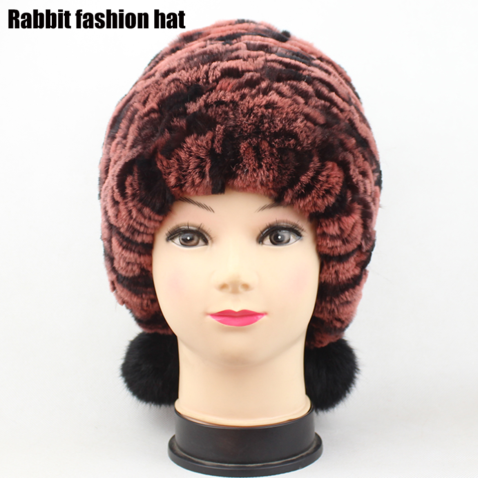 True Rex fur knitted hat Autumn and winter fashion women warm ear cap Thickened colorful Rabbit
