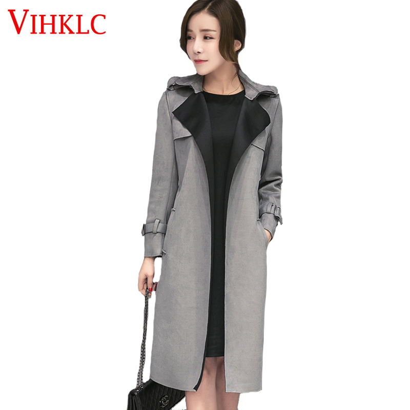 New Fashion Elegant Autumn Long women trench Suede Trench Coat Women Pure  Color Brief Overcoat with Belt Slim Windbreaker AY107 - Suede Trench Coat Women Promotion-Shop For Promotional Suede