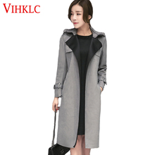 Elegant Long Suede Trench Coat with Belt