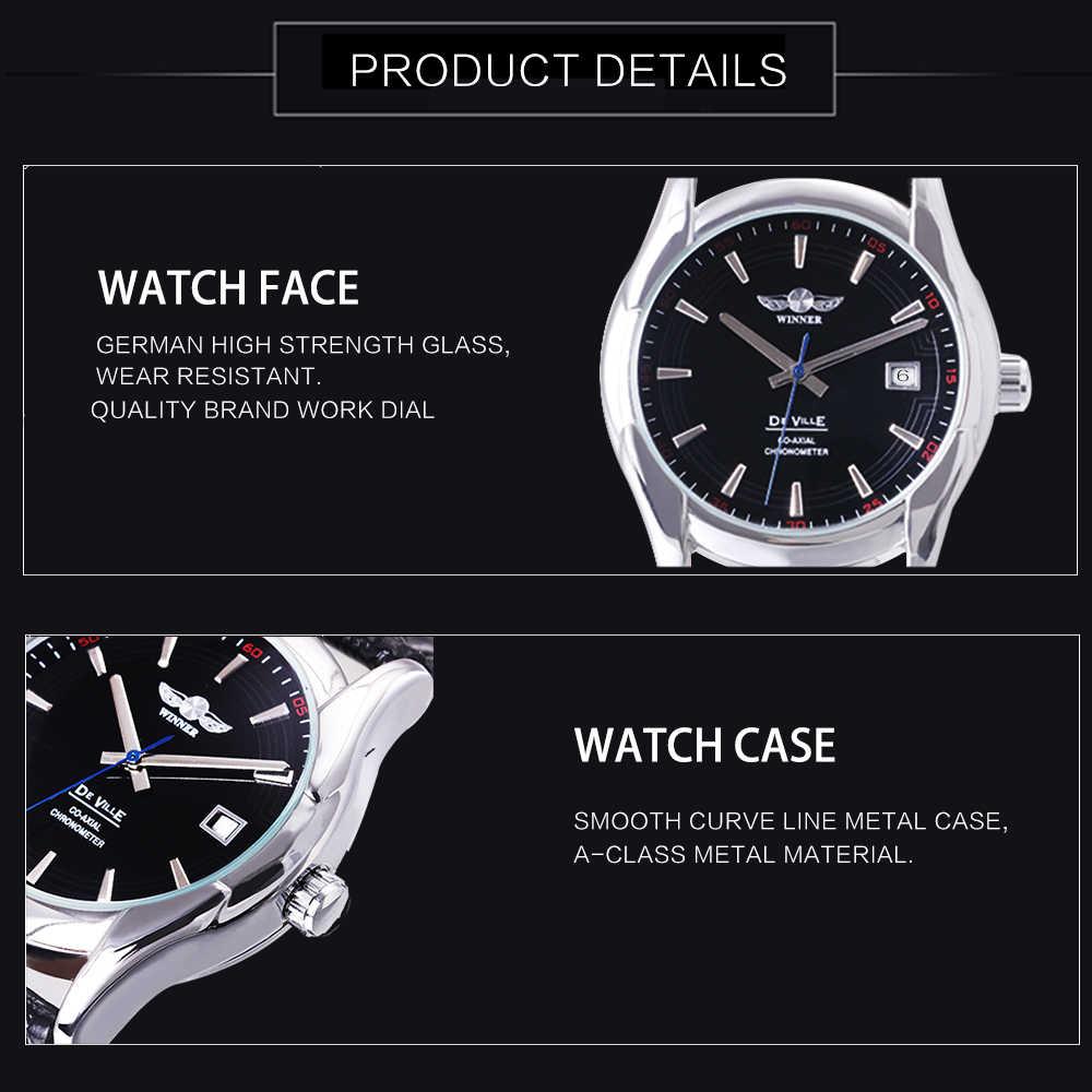 WINNER 2018 Top Brand Luxury Dress Watch Men Auto Mechanical Calendar Black  Dial Fashion Leather Strap Wrist Watches 2018 Clock