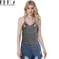 New Fashion 2017 Summer Tops Women Girls Vintage Embroidered Tank Top Wommen Casual Loose Gray Knitted