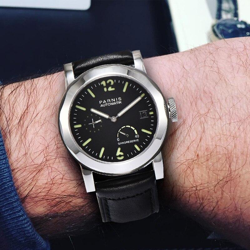 43mm Parnis SeaGull μαύρο αυτόματο ρολόι Power Reserve   GMT ... 78e510b09b3
