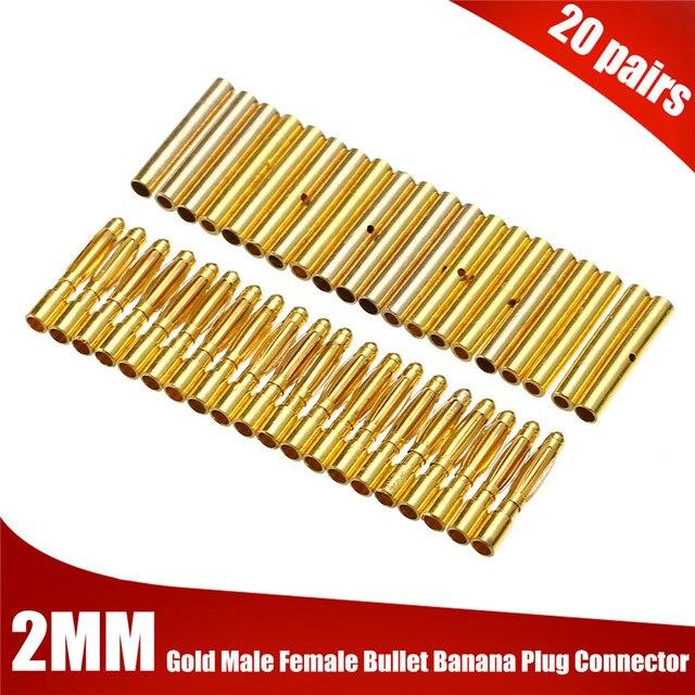 Mayitr 40 piezas 2mm chapado en oro macho + hembra Bullet Banana Plug Kits para batería RC ESC