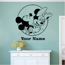 Personalized NAME Custom Wall Decoration For Kidsroom Minnie And Mickey Decals Vinyl Art Removeable Poster Mural Beauty LY1108