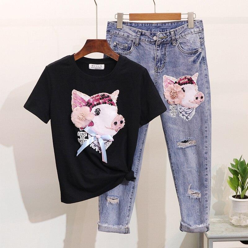 pink black Printemps Costumes T De White shirts Ensembles Long Trou Nouveau Porc Pantalon Été Mode Jean Étudiants Cou Paillettes Femmes O Dessinée Denim Bande gR7qdwBqx