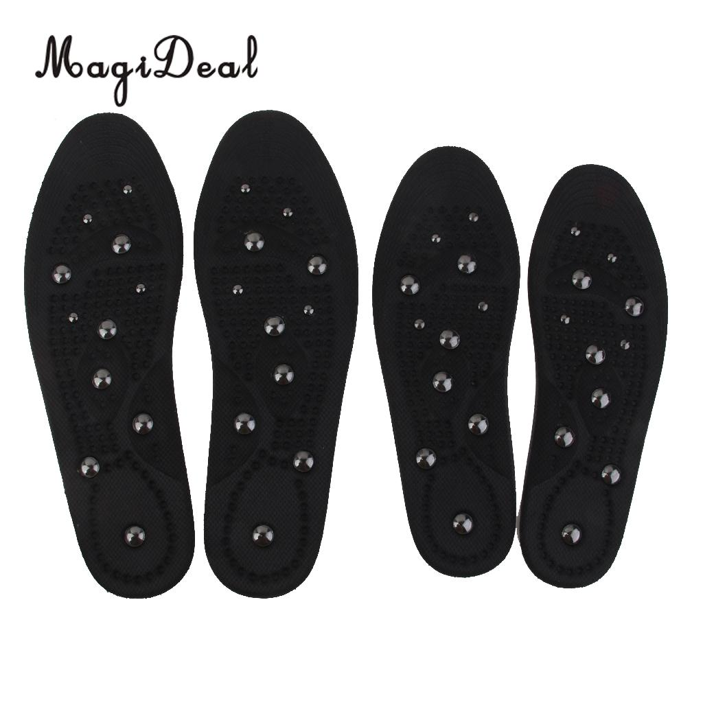 MagiDeal High Quality Womens Magnetic Health Medical Therapy Massage Shoe Soft Insoles Inserts for Flat Foot Arch Support Black