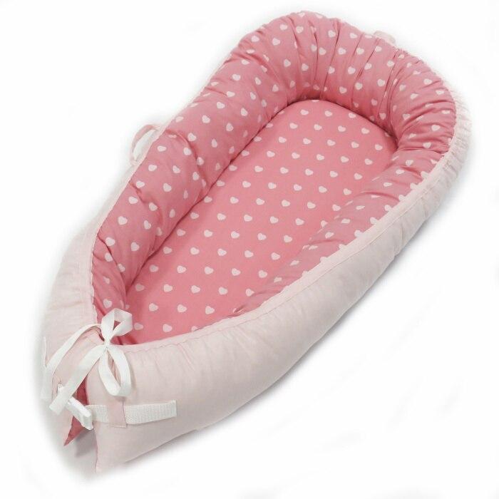 Разборные Детские гнезда кровать или малыша Размер гнезда, мята и совы, портативная кроватка, co спальное место babynest для новорожденных и малышей - Цвет: heart love Two-sided