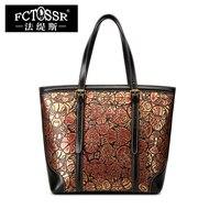 Для женщин кошелек ручной работы пояса из натуральной кожи сумка Tote сумки Мода лица макияж узор женский плечо большой слинг