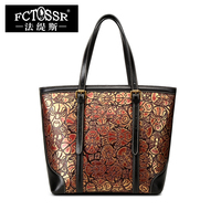 Women Purse Handbag Handmade Genuine Leather Messenger Tote Bags Fashion Facial Makeup Pattern Female Shoulder Big Sling Bag