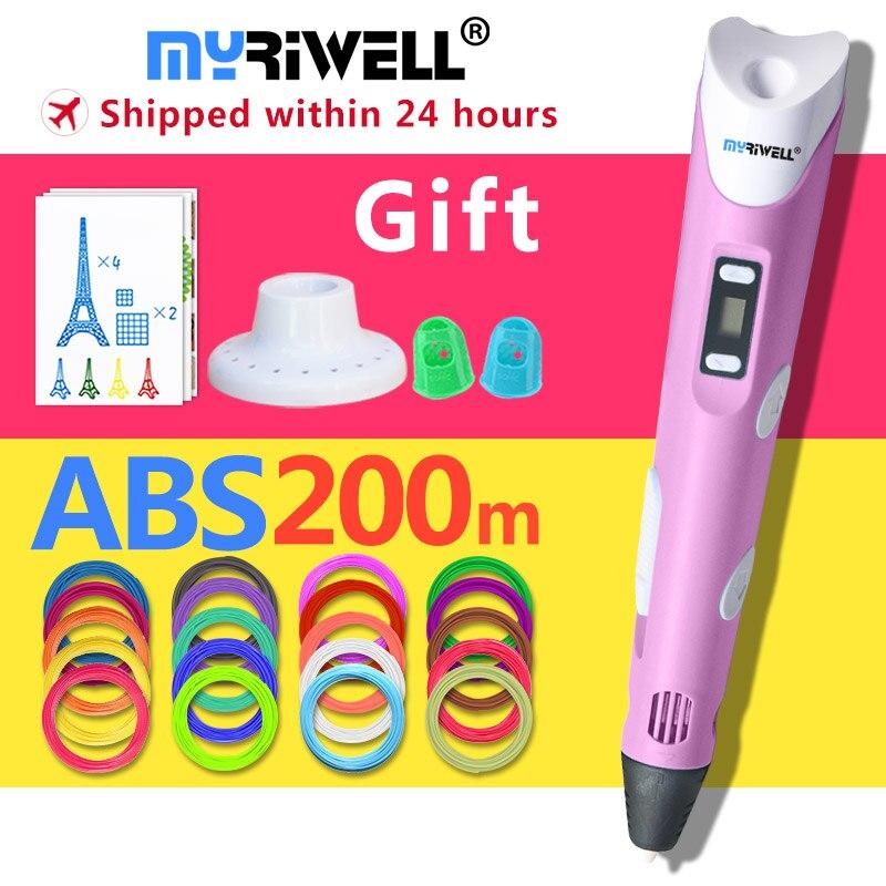 Myriwell 3d stylo + 20 Couleur * 10 m ABS filament (200 m), 3 d stylo 3d modèle Smart parfait 3d impression stylo Meilleur Cadeau pour Enfants pen-3d
