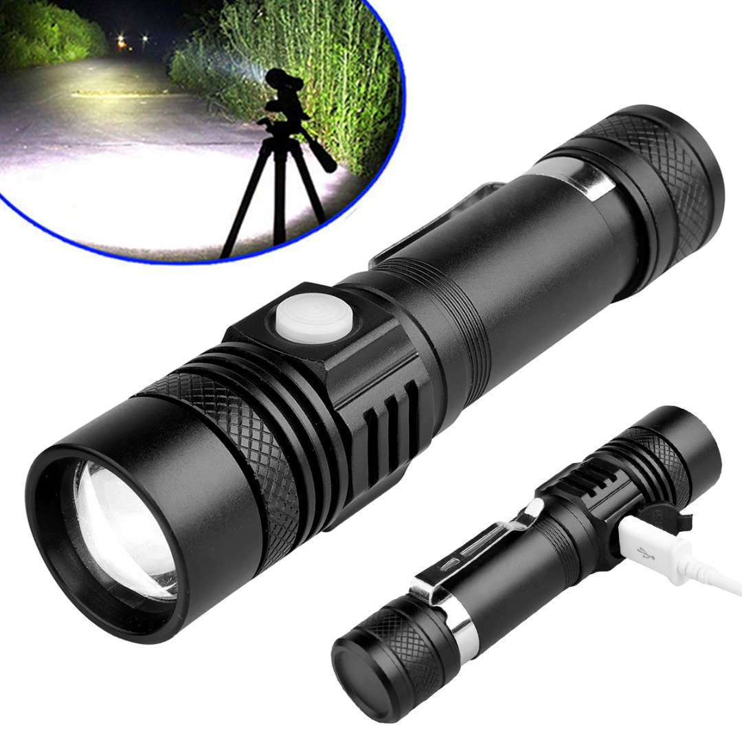 Hot Selling Super Bright XML-T6 LED Flashlight Zoomable use 18650 USB Rechargeable Torch Lamp for Hunting Cycling sitemap 53 xml
