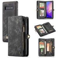 Portefeuille de luxe à glissière pour Coque Samsung S10 5G S10e S10 Plus Etui à rabat Galaxy A20e A30 A40 A50 A70 A80 A90 sacs magnétiques