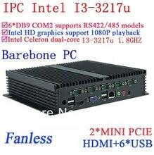 Core i3 мини-пк промышленные компьютеры с Двойной Gigabit Ethernet NM70 микросхем 6 USB 6 RS232 Barebone пк с Windows или Linux