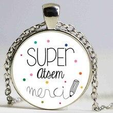 merci maitresse pendant holder fashion silver color glass metal necklace for men women jewelry teachers gift HZ1