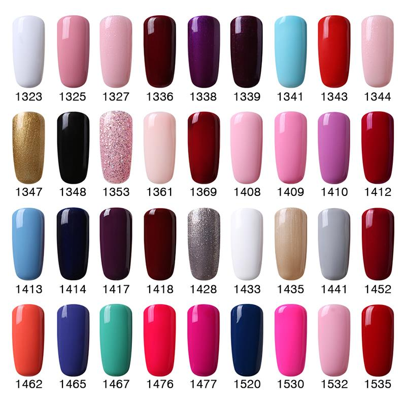HNM 8ML Pure Colors UV Gel Nail Polish Soak Off LED Lamp Manicure ...