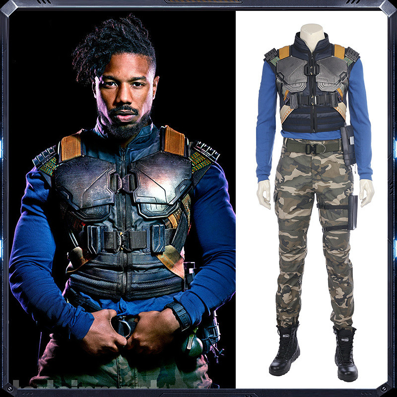 T'Challa Black Panther Brother Eric Cosplay Costumes Superhero Cos Camouflage Set Top Pant Vest Armor 4Pcs Set Halloween Cos Pre