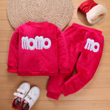 Autumn Winter Girls Boys Clothes Sets Sports Suits Children Warm Clothing Kids Cartoon Jacket Pants Long-Sleeved NEW YEAR Suit
