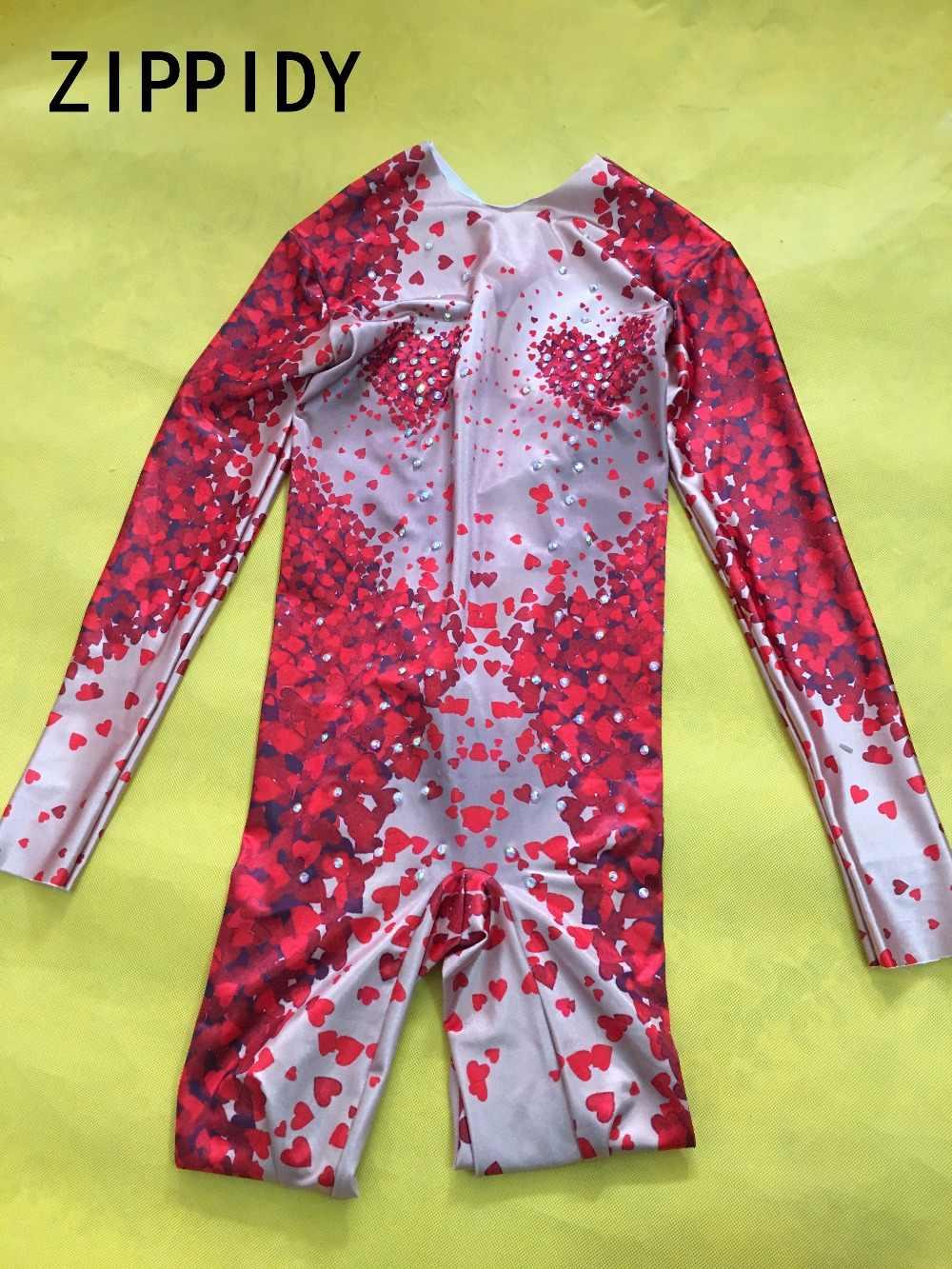 Mode sexy Rot Herz Form Muster Overall Strass Ein Stück Große Stretch Kostüm frauen Party Outfit Bühne Sängerin Zeigen