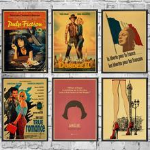 Retro Vintage Sexy película clásica Pulp Fiction/Amelie/Leon carteles Kraft papel de pared pintura de alta calidad para la decoración de la pared del hogar