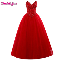 Bridalaffair Real Photo Red Crystal V Neck Ball Gown Qyinceanera Dresses 2017 Sleeveless Lace Long Party Gown for 16 years girls