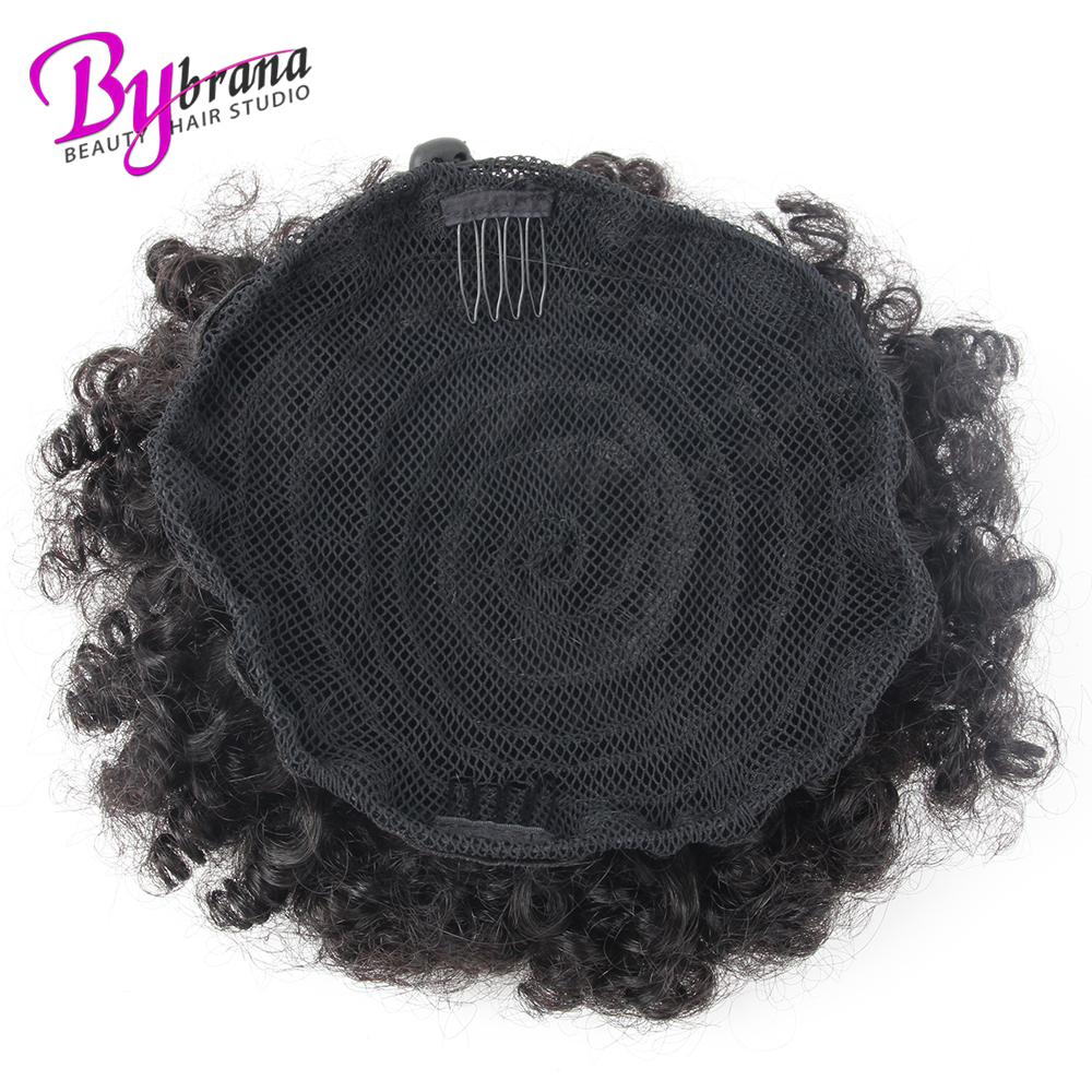 Afro Kinky Curly Ponytail Chignon For Women Natural Black Remy Hair Clip In Ponytails Drawstring 100% Human Hair Extension 1 PCS (5)